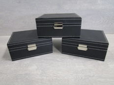 3 Deluxe Watch Boxes - Room for 18 Watches - New