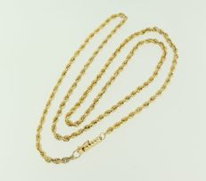 14 kt yellow gold cord necklace, length 55 cm