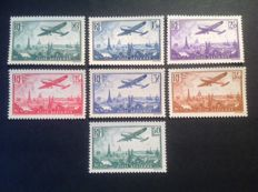 France 1936 - Poste Aérienne complete series including Calves signed with digital certificate - Yvert n° 8 to14a