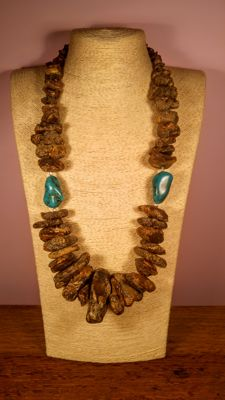 Huge Natural Baltic Amber necklace with pair turquoise accents, Length ca. 72 cm, 199 grams