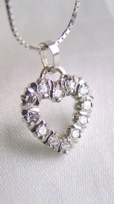 Diamond heart 0.25 ct 585 white gold + 750 white gold chain