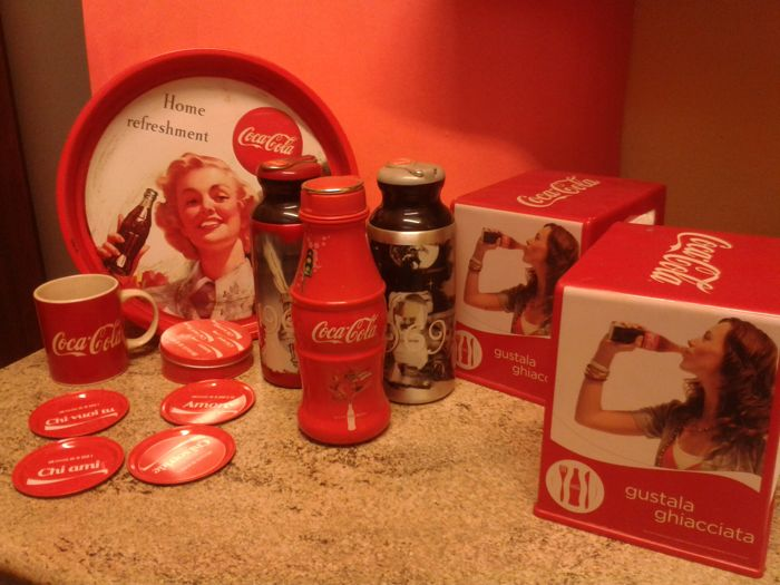 Mixed Coca Cola lot - tray - thermos - mug - coasters - napkin holder