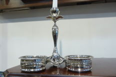 Cavalier silver plate on brass bottle coaster and beautiful candlestick