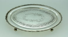 Vintage Silver Plate Butter Dish With Decorative Engravings, England C.1930-1940