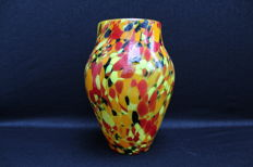 Bohemian glass - Art Deco vase, spatter glass