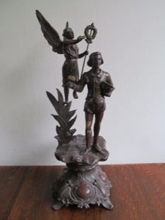 Large size image bronze alloy sculpture - France - Ca 1900 - Allegorie van de Schone Kunst
