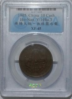 China, Honan - 10 Cash 1905 'Dragon' in ACCA Slab - copper