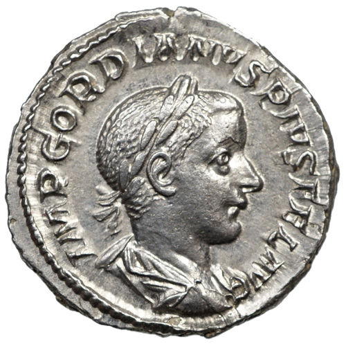 Roman Empire - Gordianus (238-244) AR Denarius, Rome, Emperor with Lance and Globe