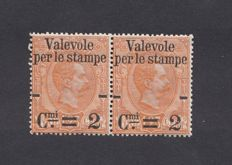 Kingdom of Italy 1890 - pair of 2 centesimi on 1.25 orange - Sass. No. 54