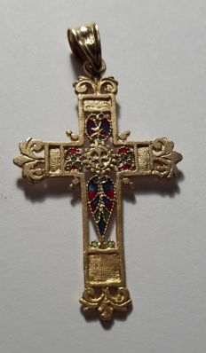 Cross pendant in 18 kt yellow gold and enamel