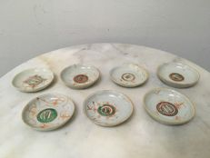 Set of 7 Porcelain saucers - China - 19th  Century.