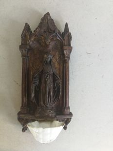 Antique stoup carved in ceramics and wood, depicting the Madonna, France, 20th century