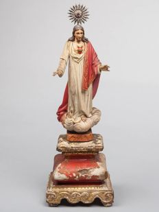 Sacred Heart of Jesus - wood, silver - 19th century