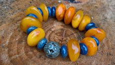 Vintage bracelet of 100%  natural  antique Baltic  Amber, ancient silver beads and Lapis lazuli,  50.1 grams