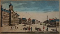 Amsterdam, Dam; Damrak, P van Ryne - A View of the Stad House and the Engines for extinguishing Fire at Amsterdam. - ca. 1760