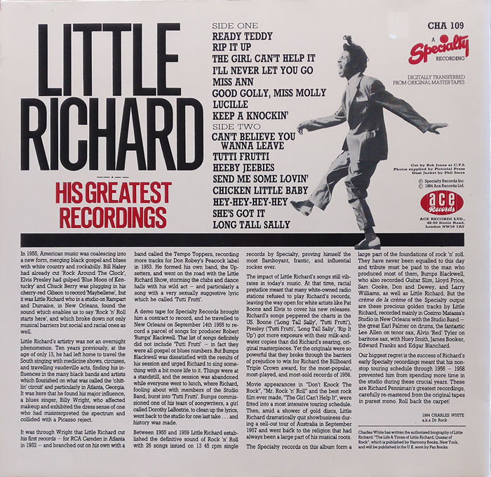 Little Richard On Famous And High Quality Uk Ace And Charly Labels