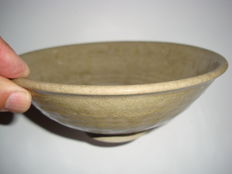 A Chinese light green-brown celadon bowl  -  170 mm x 63 mm