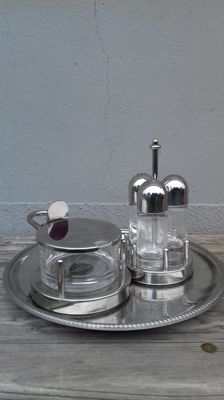 Ettore Sottsass for Alessi - table set: triple condiment holder, grated cheese dish, tray