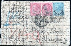 Italy, Kingdom, 1867/1866 – Mixed franking for 1 Lire on letter for Sweden (via Switzerland).