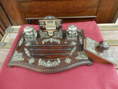 Pau Santo Wood and Sterling Silver Ornate Victorian Desk Tray Inkwell and Blotter Set -  Portugal - XIX century