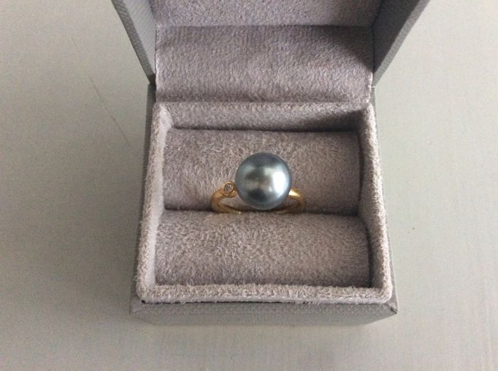 Tahiti pearl-diamond 18K yellow gold ring