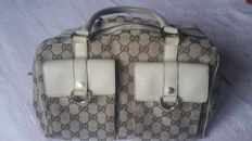 "Gucci - Beige/Ebony Signature ""GG"" Canvas Abbey Bolso de mano"