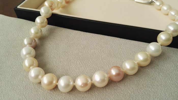 Necklace of natural cultured AAA pearls with natural multicolour