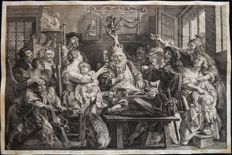 "Paul Pontius (1603-1658) after Jacob Jordaens (1593-1678) "" Le Roi Boit """"The King Drinks"" Circa 1645"