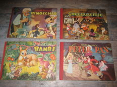 Disney, Walt - 4 Magriet publications - complete + 1x original packaging - Pinocchio + Sneeuwwitje + Peter Pan + Bambi) 4xhc - 1st edition (1950/1952)
