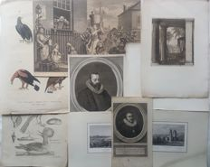 ca 32 prints by Various artists (18th 19th century) - Various topics - 18th 19th century