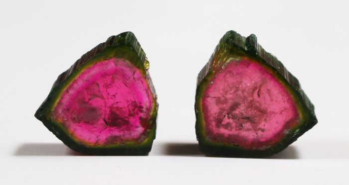 Perfect Pair of Watermelon Tourmaline Slices - 30ct (2)