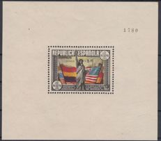 Spain 1938 – 150th Anniversary of the United States Constitution. Block sheet. Roig marking and CEM - Edifil 766.