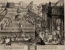 Joan Wierix (1549-1620), Renaissance garden design, Corinthia, after Vredeman de Vries (1527-1609), 1577