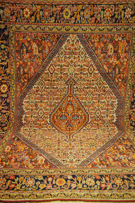 Unique old Persian carpet Bijar runner best wool natural colours made in Iran 110 x 160 cm