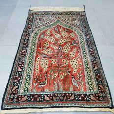 Stunning 100% silk tree of life Ghom Persian rug - 90 x 59 - 600,000 kn/m2 - with certificate - SUPER OPPORTUNITY