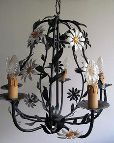 Large wrought iron hanging lamp with five light points, France, mid 20th century