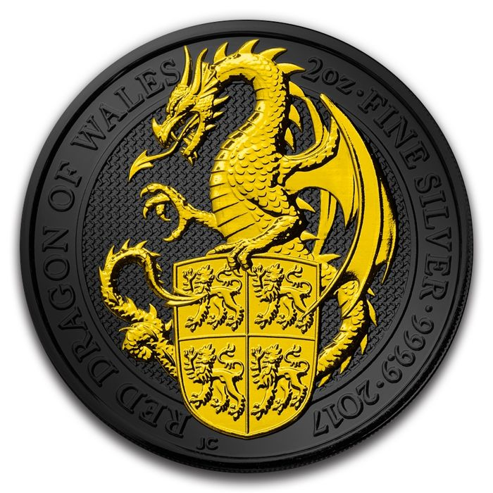 Great Britain - 5 Pounds 2017 'Queen's Beasts - Red Dragon of Wales' Ruthenium/Gold Plated - 2 oz silver
