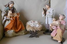 Four nativity scene characters - terracotta and cloth