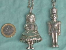 2 x silver Christmas decoration for the Christmas tree-Topazio - toy soldier and girl