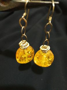 Amber earrings in gold plated silver