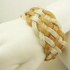Signed KENNETH JAY LANE - Two tone gold & silver plated Mesh Bracelet