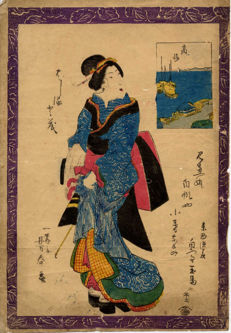 Original print by Utagawa Yoshiharu (1828-1888) - 'Courtesan' - Japan - ca. 1850