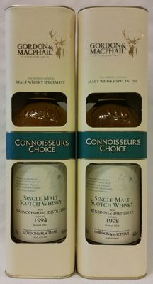 2 bottles - Mannochmore 1994 & Benrinnes 1998 - Gordon & Macphail Connoisseurs Choice