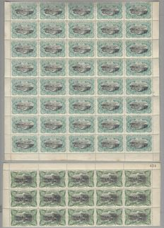 "Belgian Congo - Sheet parts with 40 x OBP no. 18, 10c blue and 15 x no. 24, 50c green from the ""Landscape type Mols"" series."