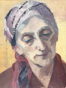 French school of the early 20th century - Portrait de paysanne au turban