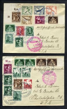 Two (2) Covers Hindenburg Zeppelin Germany 1936 Europe to USA - LuftPost, 7th and 8th Flight - Multiple Stamped Covers