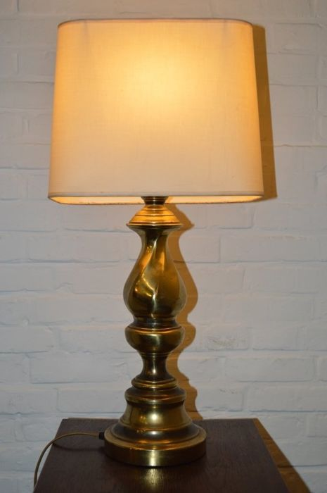 Large Brass Table Lamp Red Velvet Shade Lustrerie Deknudt 1970 S