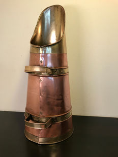 Beautiful old red and yellow copper coal scuttle, approx. 1930, Netherlands
