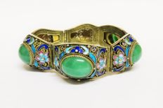 Antique silver enamel bracelet with green jade, China circa 1920