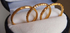 3 - Rings of 22 kt yellow gold with diamond pattern - size: 55